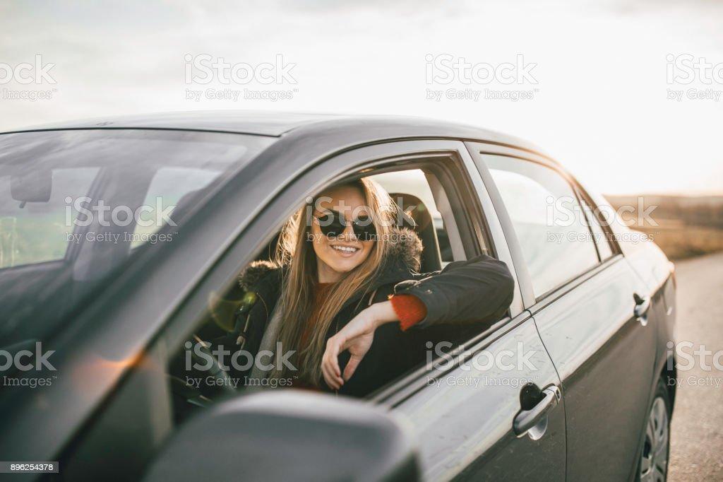 Roadtrip portrait stock photo