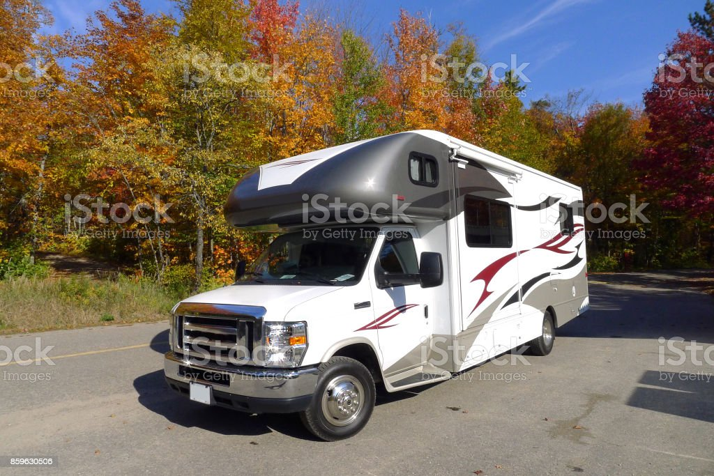 roadtrip with motorhome in Indian summer Canada stock photo