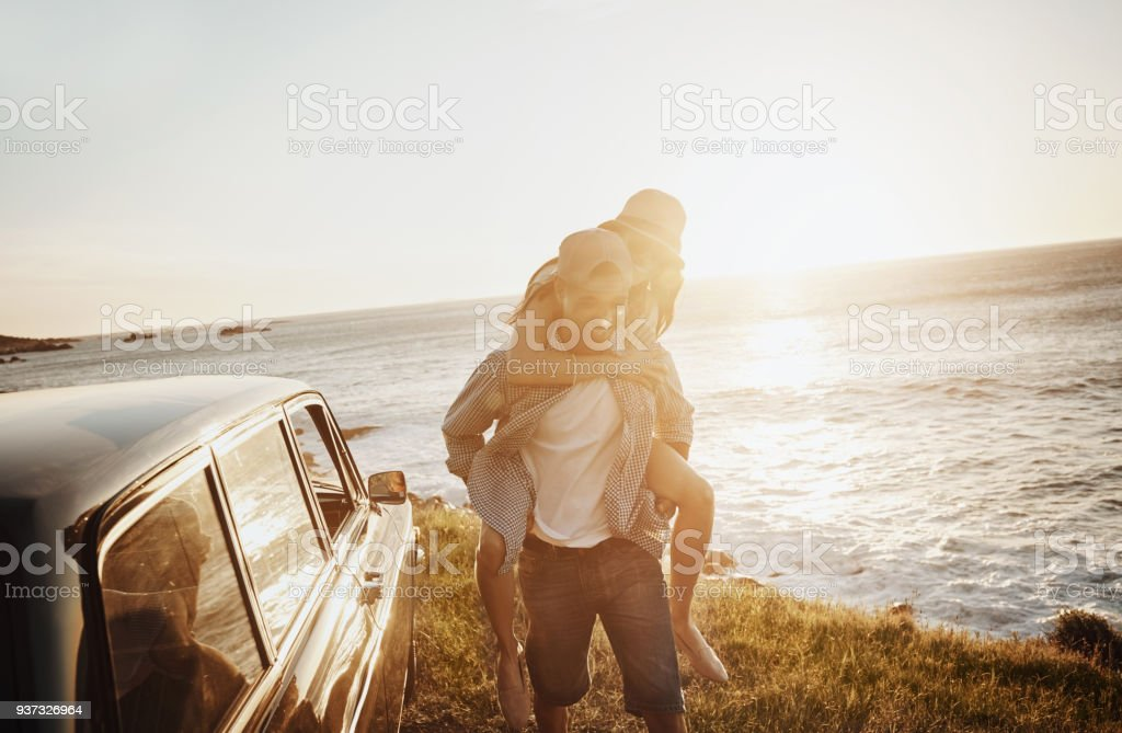 Roadtrippers in their element stock photo