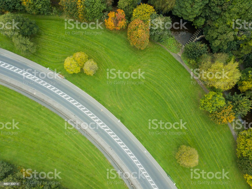 roadway and green area from above royalty-free stock photo