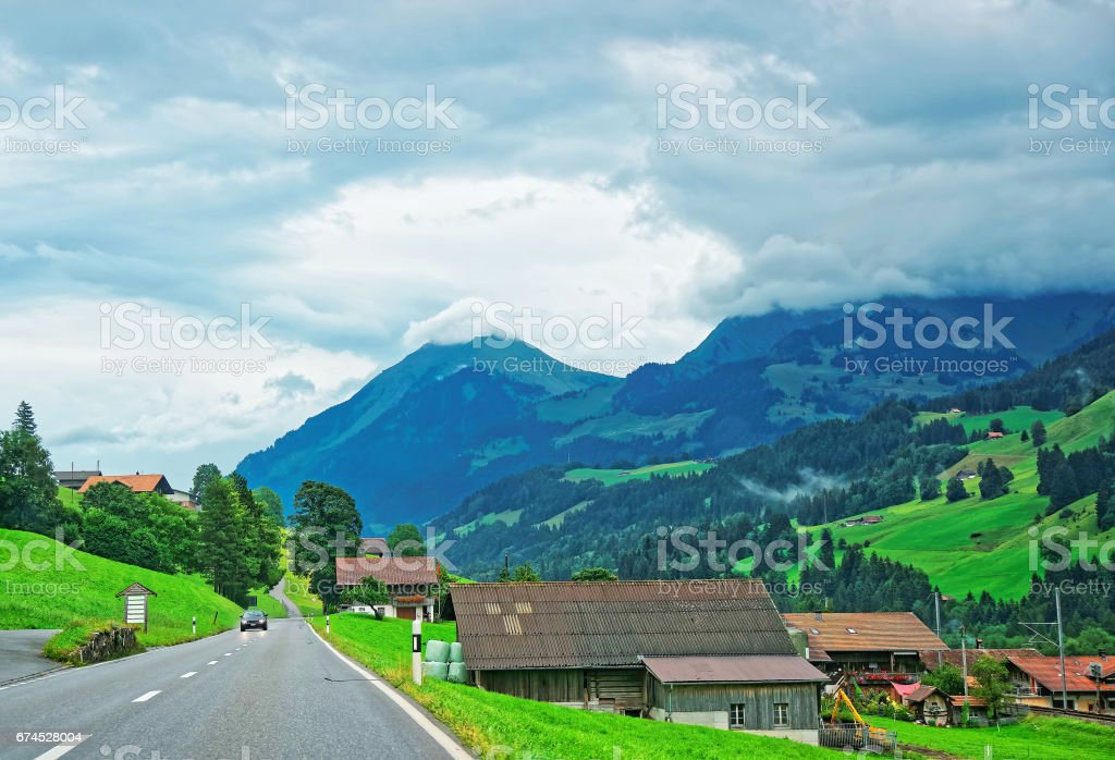 Roadway at Boltigen at Jaun Pass Fribourg of Switzerland stock photo