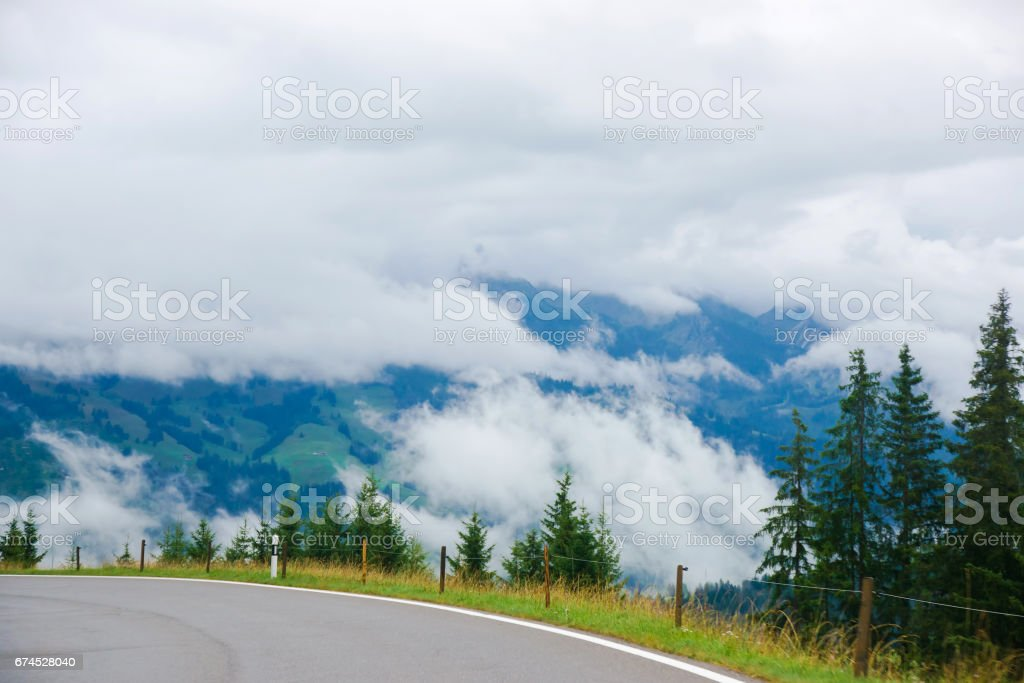 Roadway at Boltigen at Jaun Pass in Fribourg in Switzerland stock photo