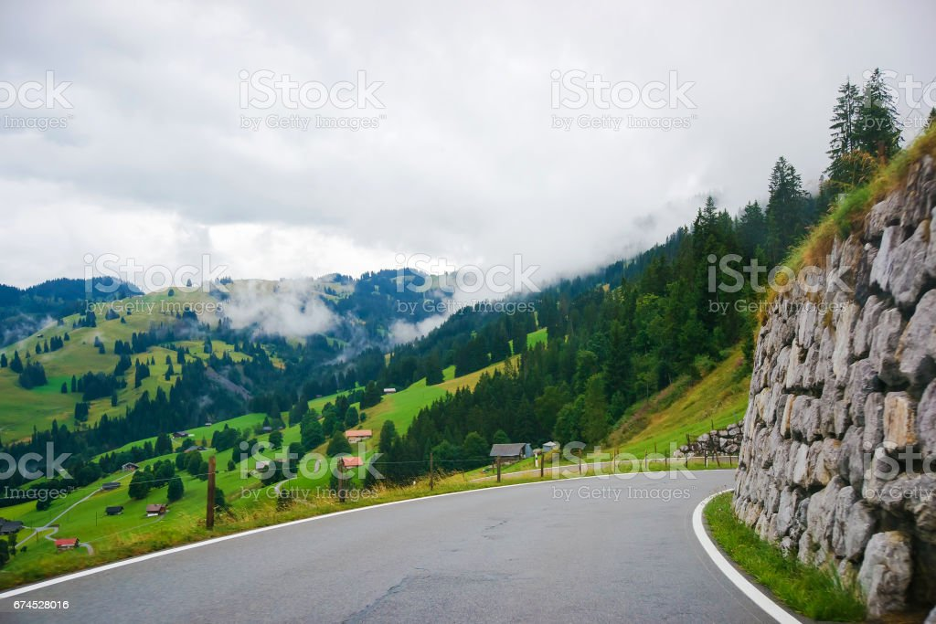 Roadway at Boltigen at Jaun Pass in Fribourg of Switzerland stock photo