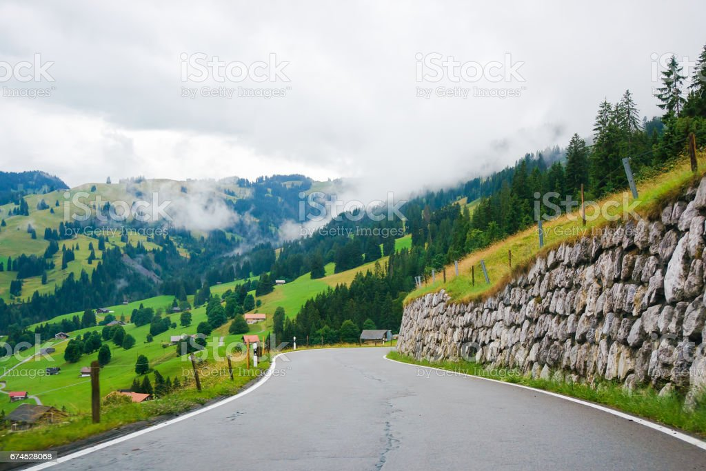 Roadway in Boltigen at Jaun Pass in Fribourg in Switzerland stock photo