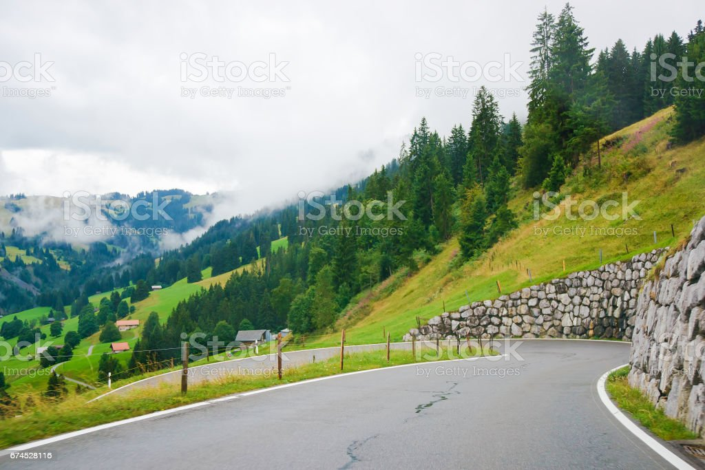 Roadway in Boltigen at Jaun Pass in Fribourg of Switzerland stock photo