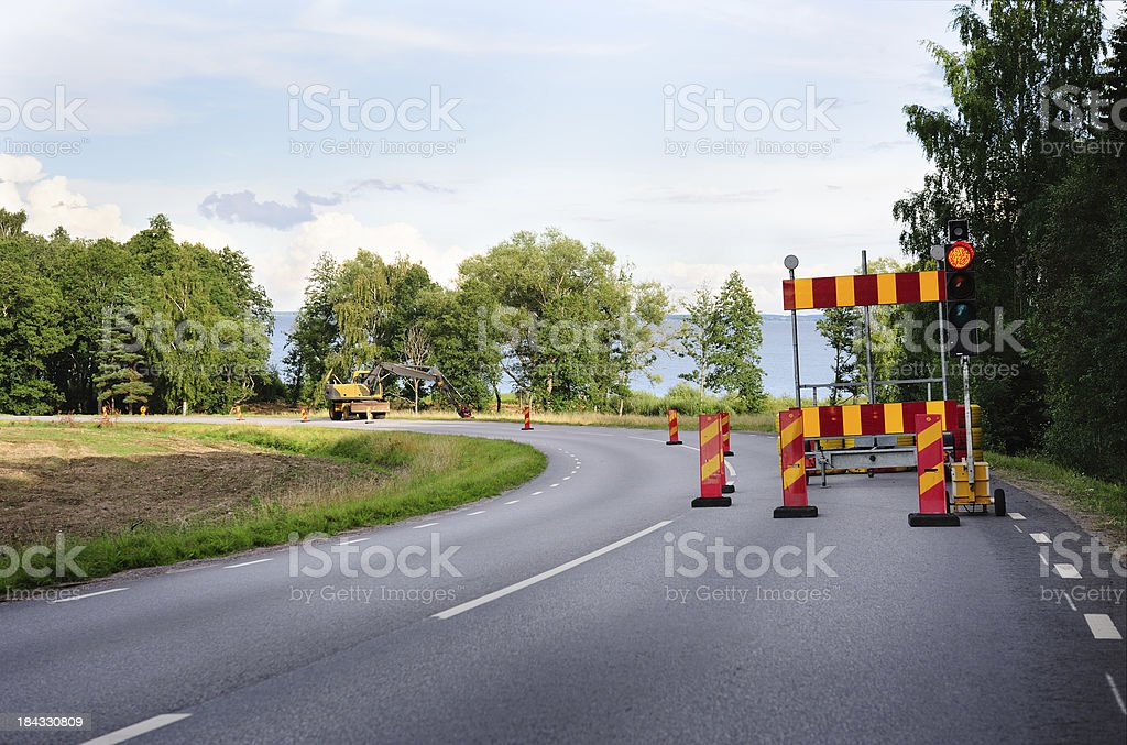 Roadwork on the road royalty-free stock photo