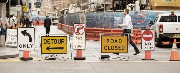 Roadwork signs stock photo