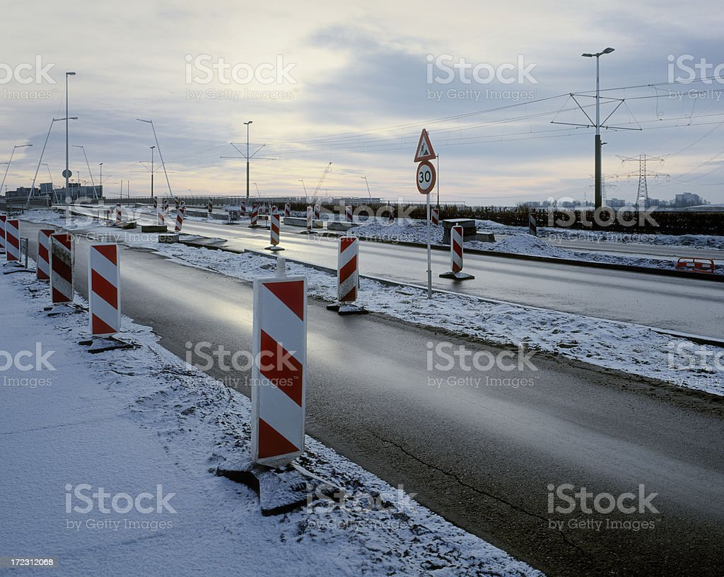 Roadworks, Amsterdam. stock photo