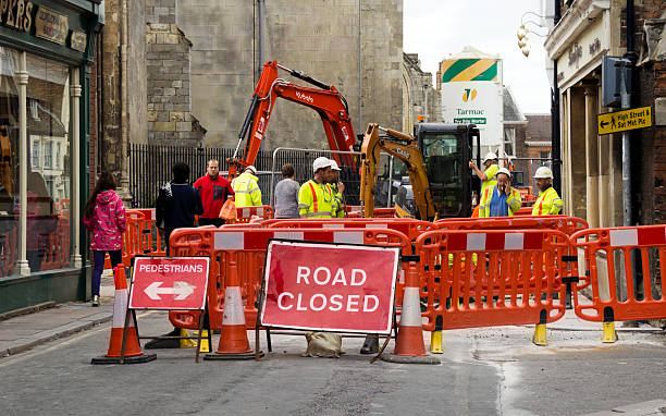 Roadworks in King's Lynn stock photo