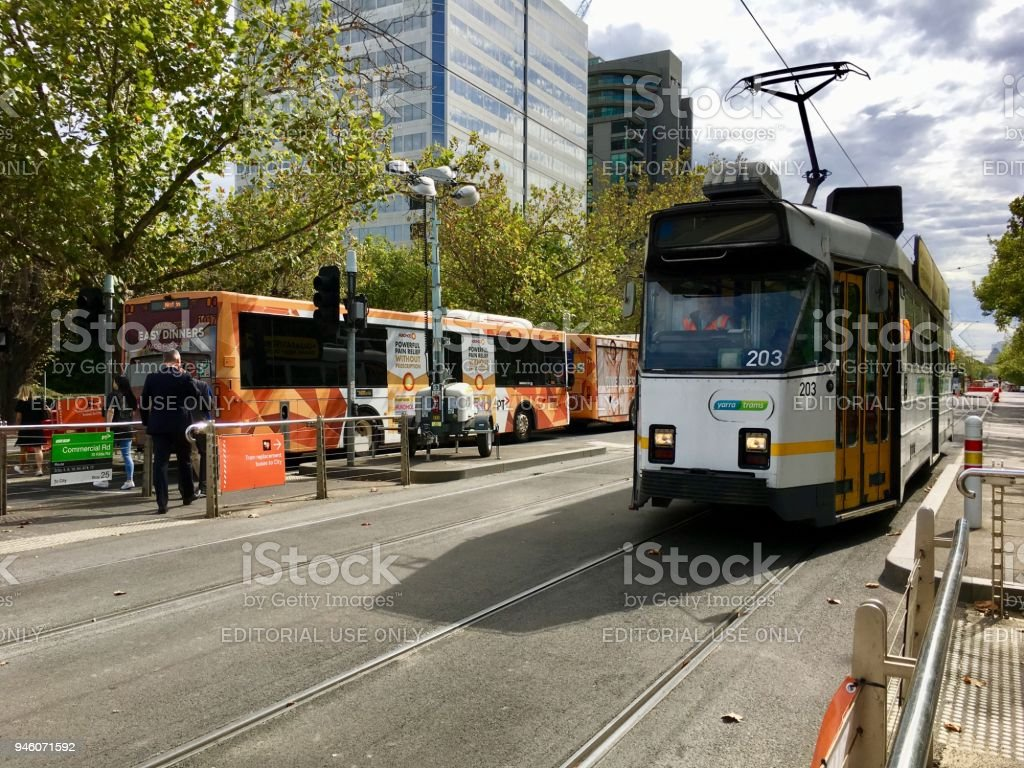 Roadworks on St Kilda Road - Melbourne stock photo