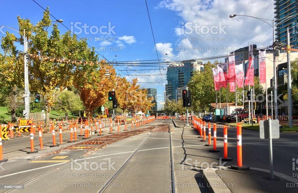 Roadworks on St Kilda Road stock photo