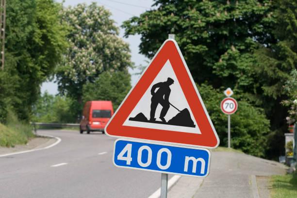 Roadworks sign stock photo