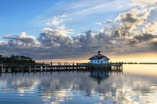 Roanoke Marshes Lighthouse at Sunrise with Dramatic Sky