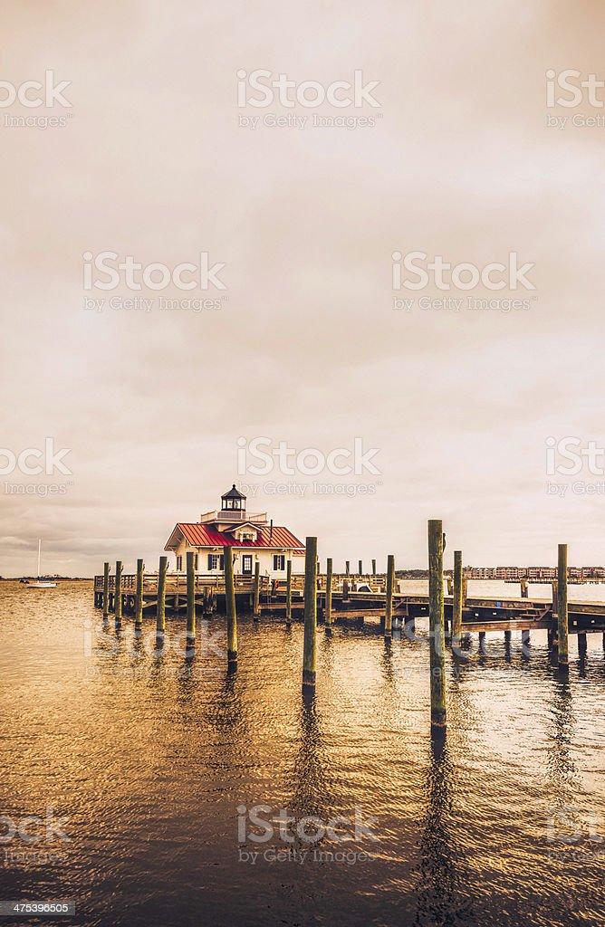 Roanoke Marshes Lighthouse in Manteo, North Carolina stock photo