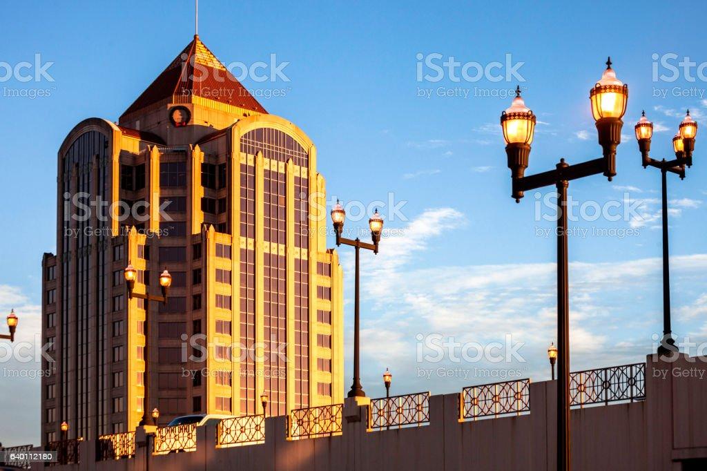 Roanoke, Virginia at sunset time. stock photo