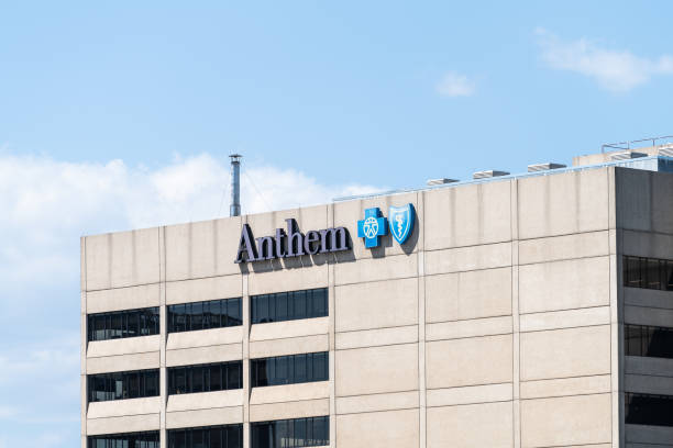 roanoke, virginia closeup of building sign for anthem health insurance - national anthem stock photos and pictures