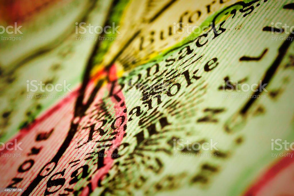 Roanoke   Virginia on an Antique map stock photo