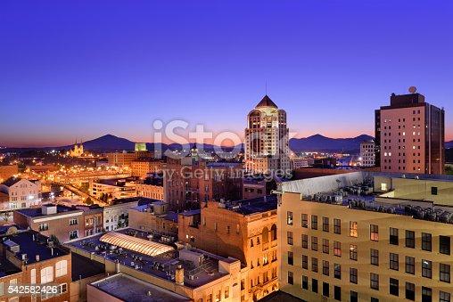 Roanoke, Virginia, USA downtown skyline at dawn.
