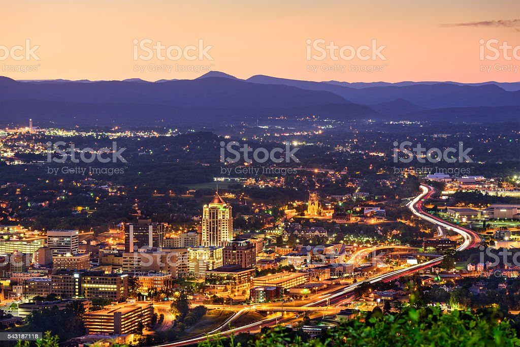 Roanoke, Virginia Skyline stock photo