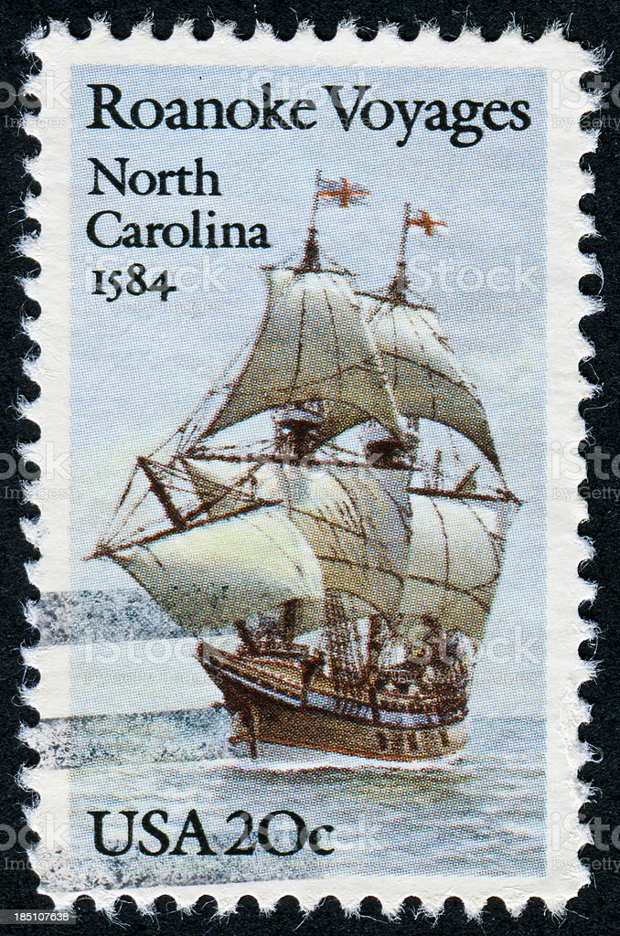 Roanoke Voyages Stamp stock photo