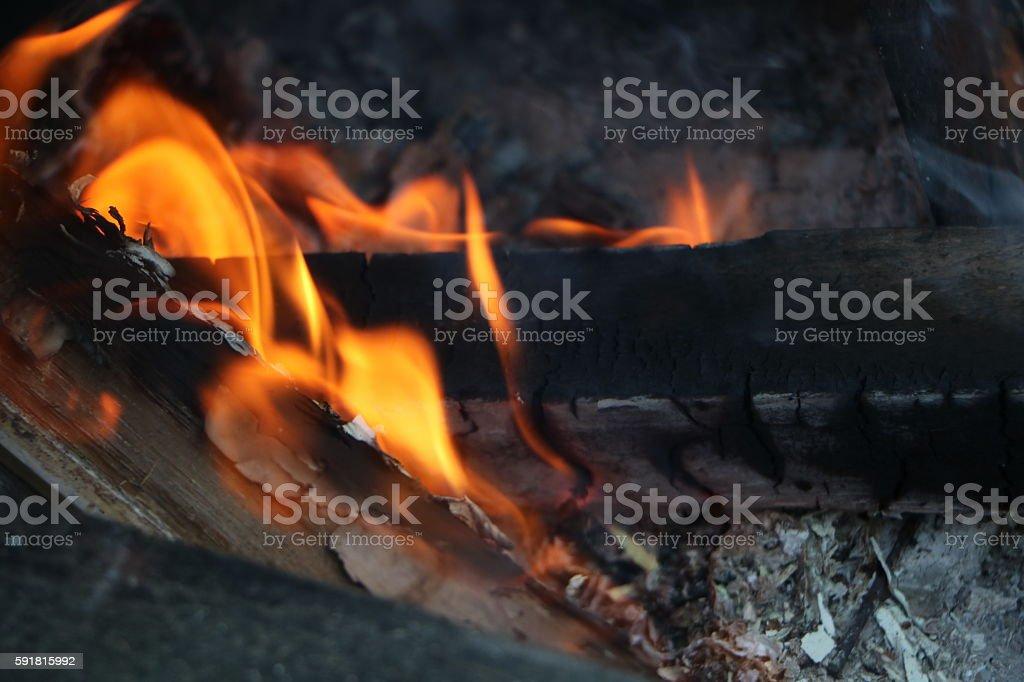 Roaring campfire stock photo