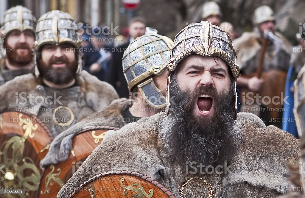 Roaring Up Helly Aa Viking Marching stock photo