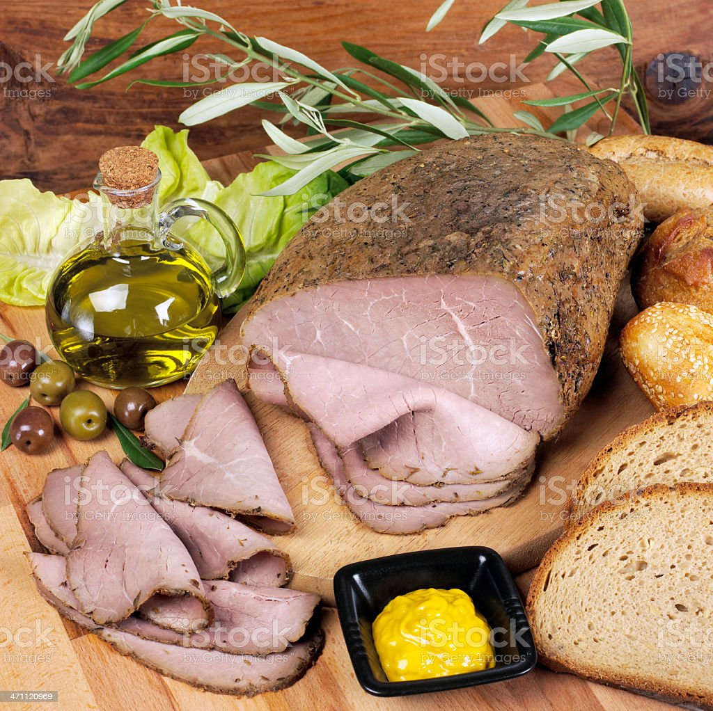 Roast beef und Brot Lizenzfreies stock-foto