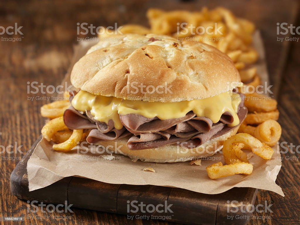 Roast Beef and Cheddar Sandwich royalty-free stock photo