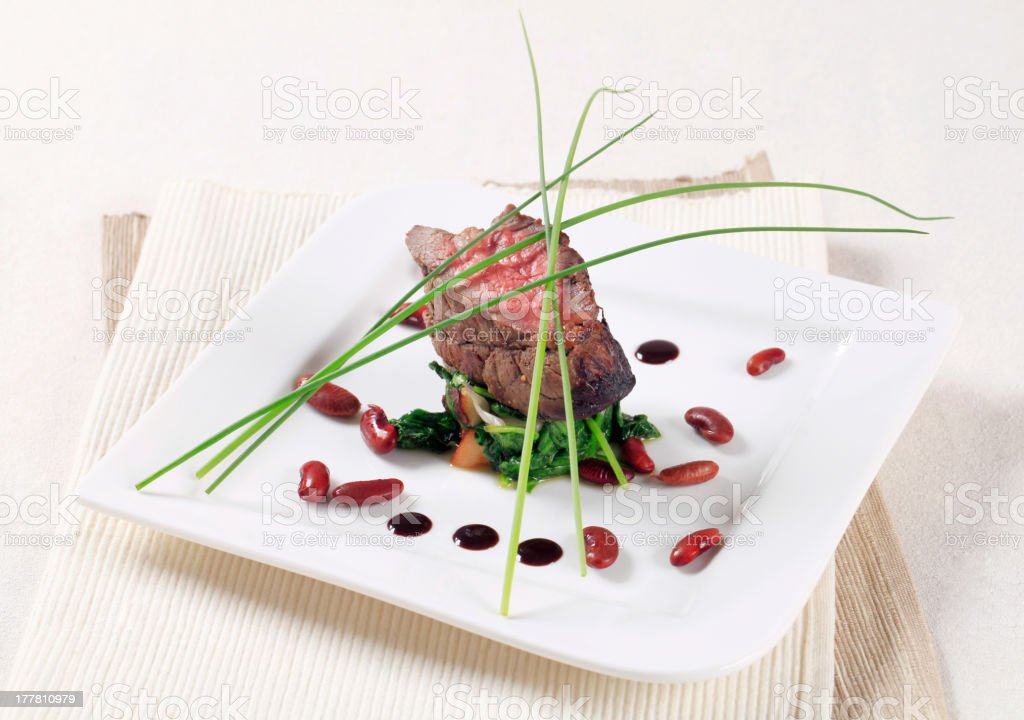 Roast beef and spinach royalty-free stock photo