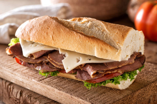 Roast Beef and Swiss on Baguette stock photo