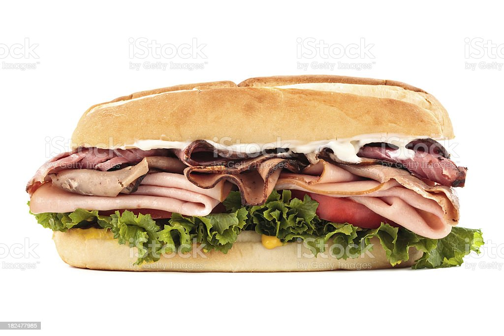 roast beef and turkey sandwich stock photo