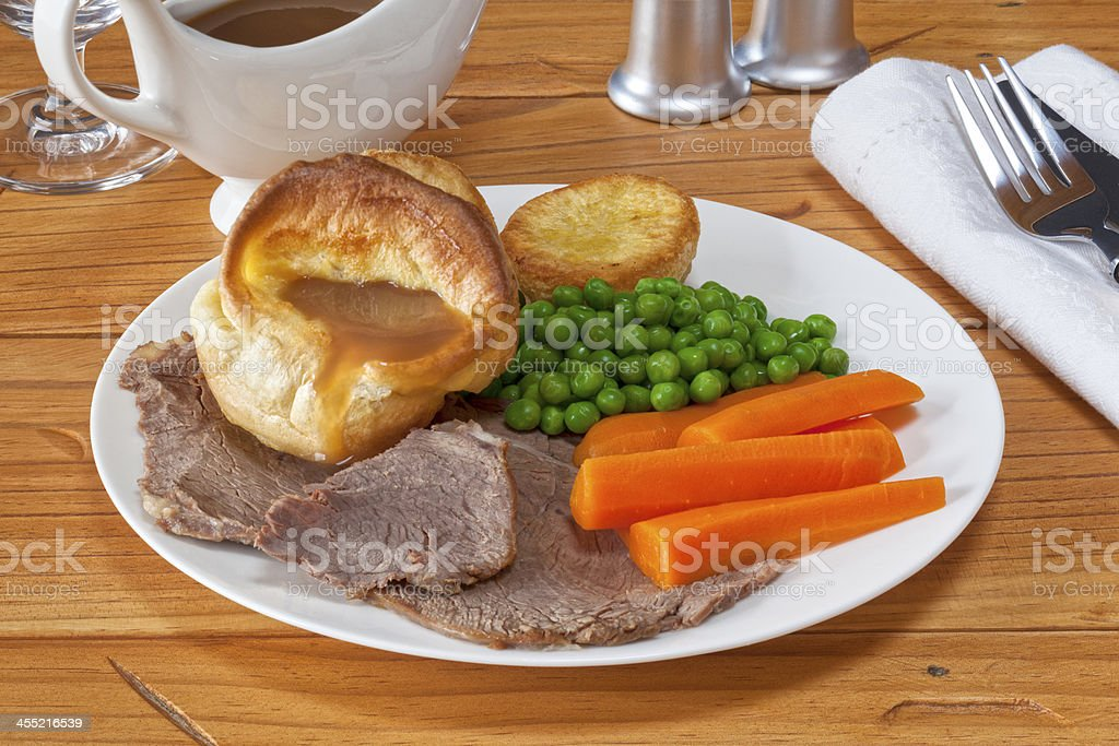 Roast Beef and Yorkshire Pudding stock photo