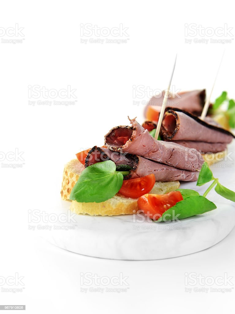 Roast Beef Canapes stock photo
