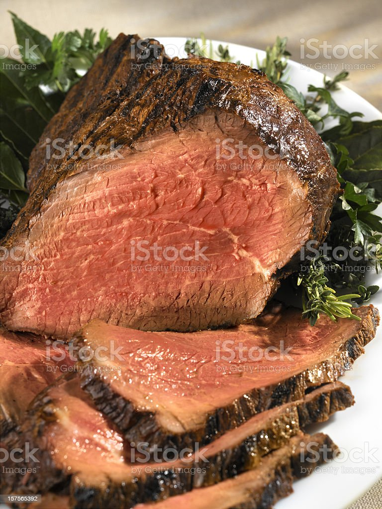 Roast Beef, carved, close-up stock photo
