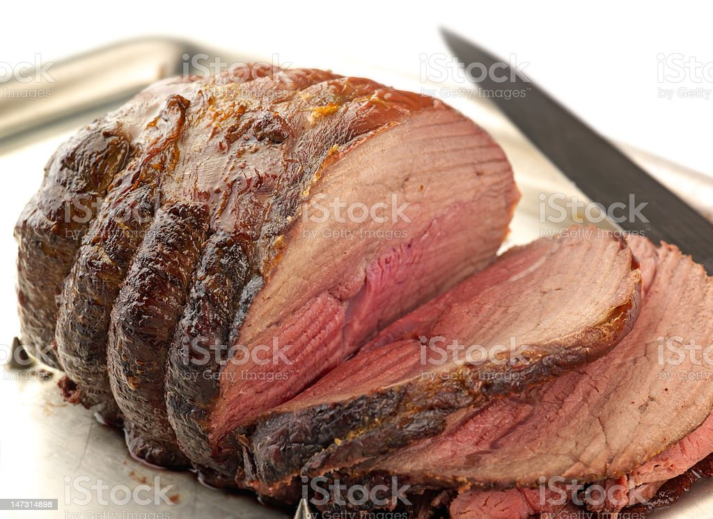 Roast Beef, carved stock photo
