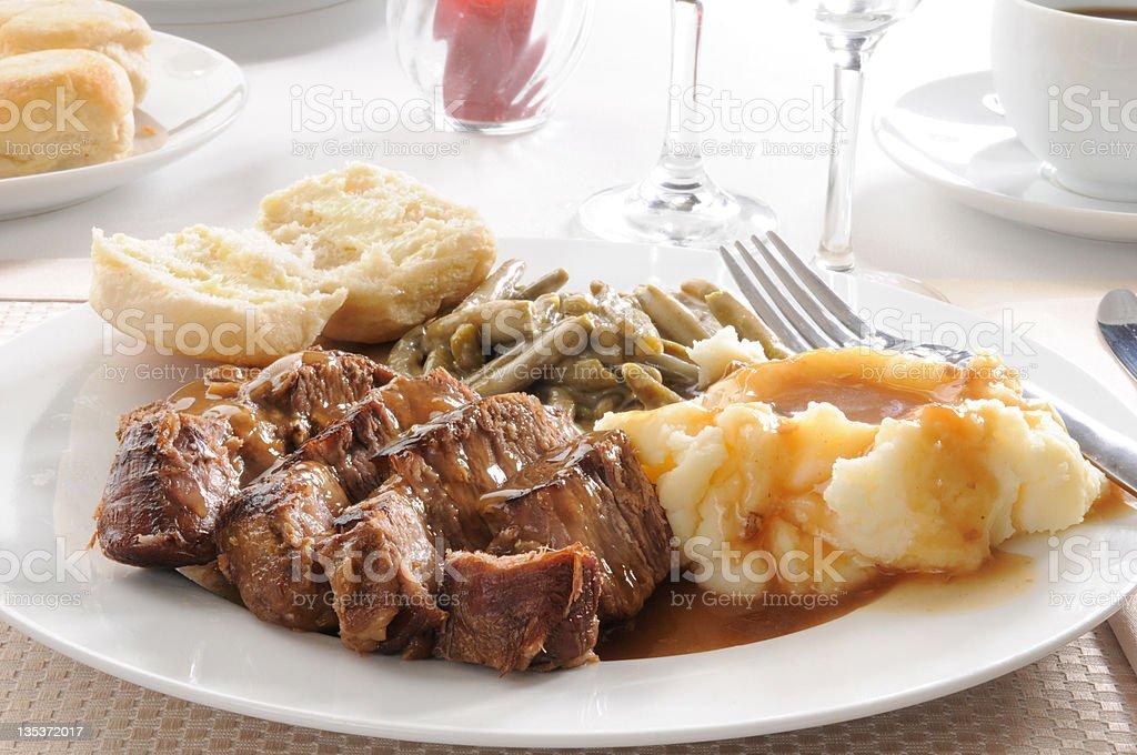 Roast beef dinner stock photo