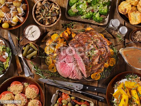 Roast Beef Feast with Yorkshire Pudding, Potatoes, Broccoli, Salad and Gravy