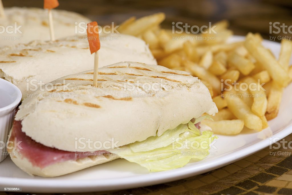 Roast beef in Panini bread royalty-free stock photo