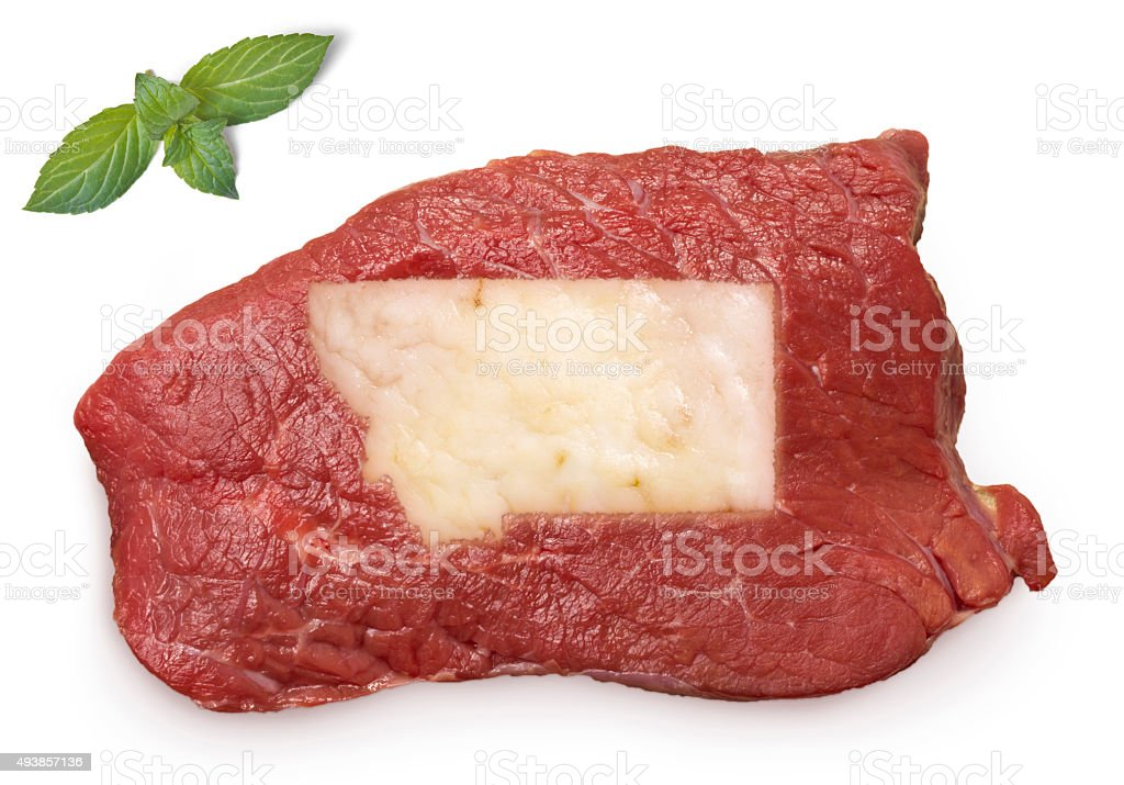 Roast beef meat and fat shaped as Montana.(series) stock photo