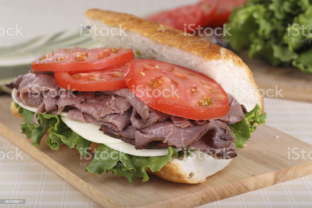 Roast Beef on French Bread royalty-free stock photo
