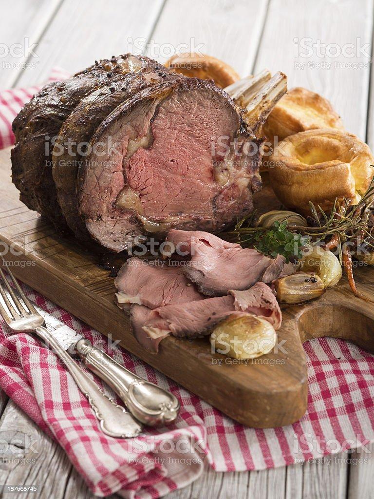 Roast Beef on Plnk royalty-free stock photo