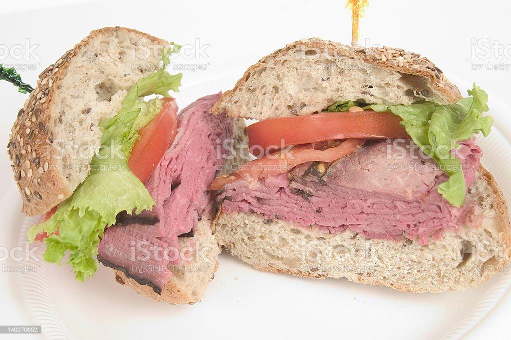 Roast Beef Sandwich on Multi Grain Roll royalty-free stock photo