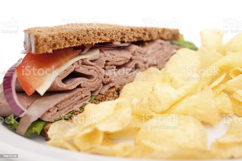 Roast beef sandwich on rye bread royalty-free stock photo