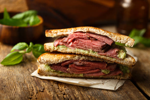 roast beef sandwich - pastrami stock pictures, royalty-free photos & images