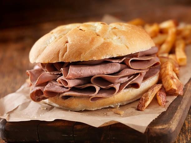 roast beef sandwich - roast beef sandwich stock-fotos und bilder