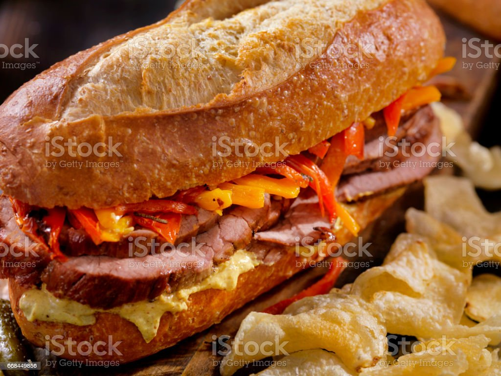 Roast Beef Sandwich with Roasted Peppers stock photo