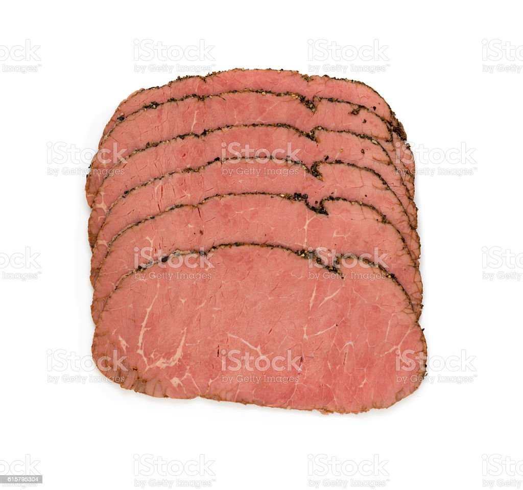 Roast Beef Slices on white background stock photo