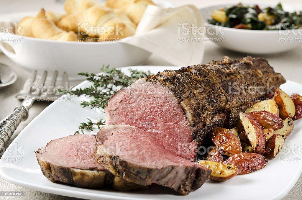 Roast Beef Tenderloin Dinner royalty-free stock photo