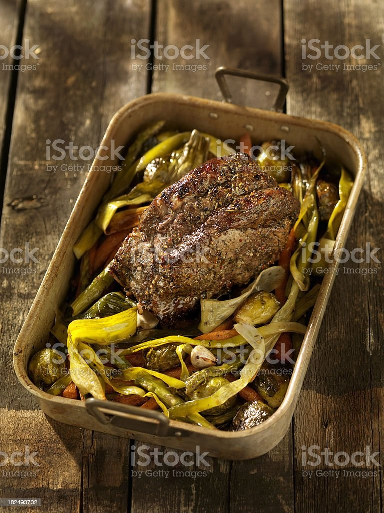 Roast Beef with Asparagus royalty-free stock photo