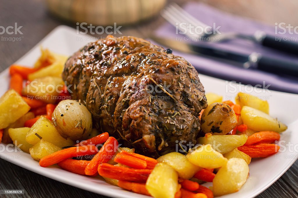 Roast Beef with Potatoes and Carrots royalty-free stock photo
